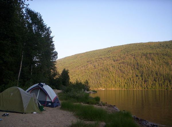 Camping by Barriere Lake, British Columbia, Canada