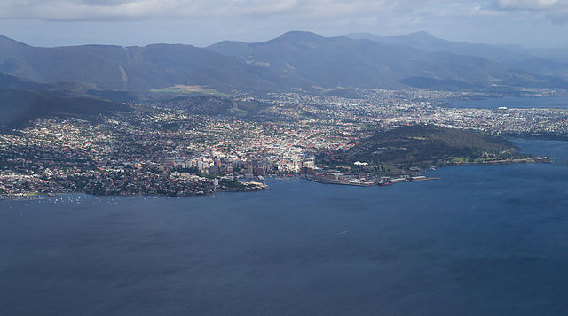 Hobart from the air, Tasmania, Australia