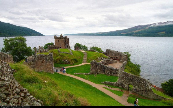 Scotland, view of Lochness and Urquhart castle during a stormy day