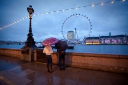 London Eye on a rainy day