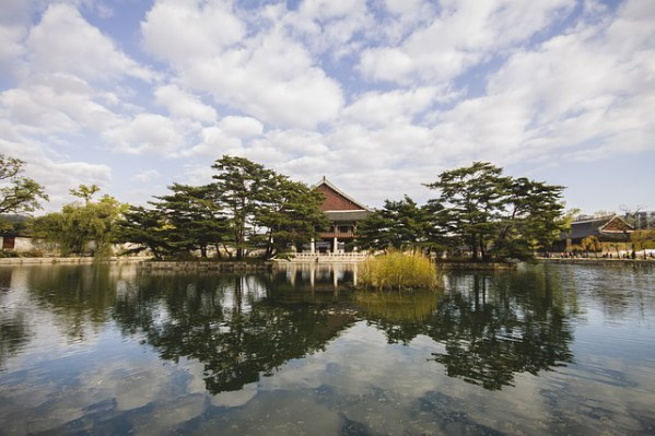 South Korea Temple Lake