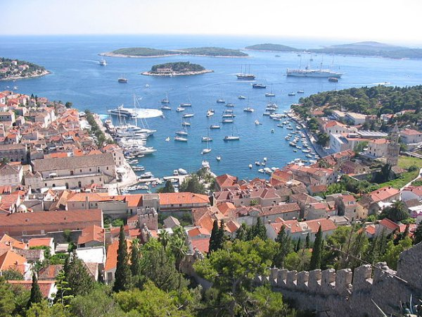 The town of Hvar and its harbour.