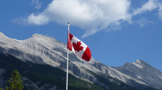 Canada Flag Mountains
