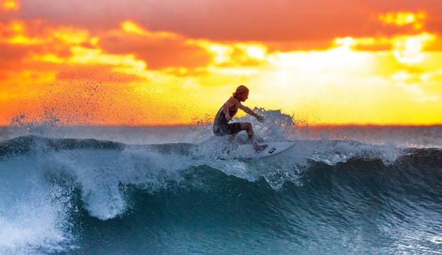 Surfer Wave Sunset